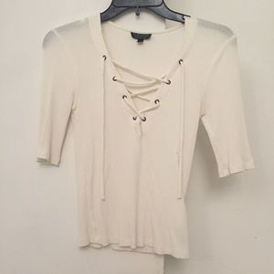 White lace up top from Topshop